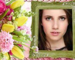 Çiçekler Ve Yeşil Çerçeve